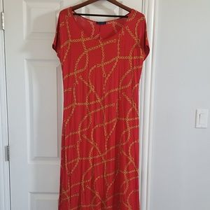 Vintage red chain midi dress